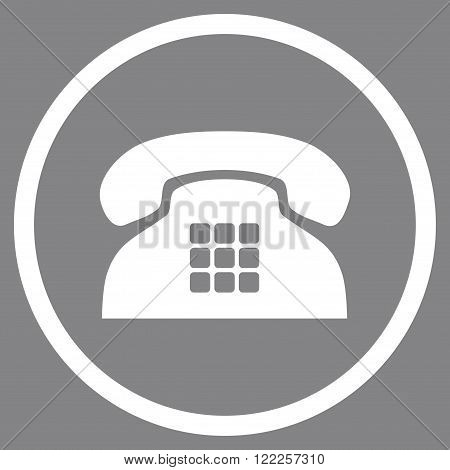 Tone Telephone vector icon. Picture style is flat tone phone rounded icon drawn with white color on a gray background.