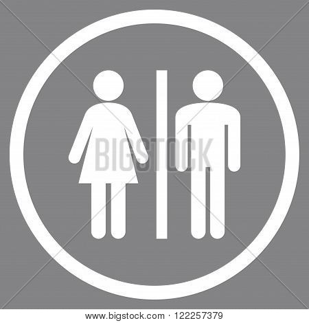 Lavatory Persons vector icon. Picture style is flat WC persons rounded icon drawn with white color on a gray background.