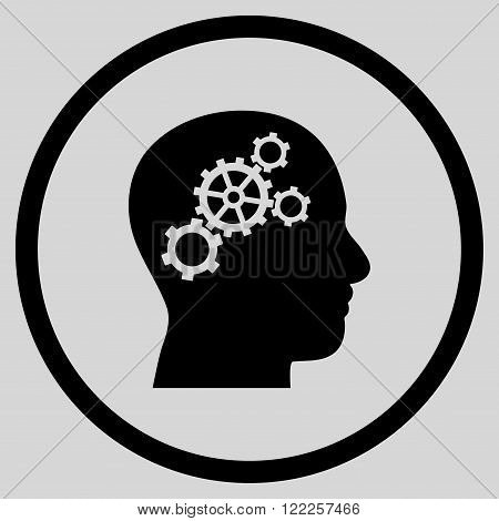 Brain Config vector icon. Picture style is flat brain gears rounded icon drawn with black color on a light gray background.