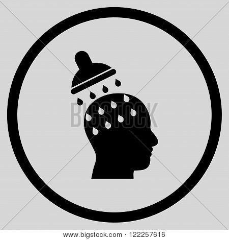 Brain Washing vector icon. Picture style is flat brain washing rounded icon drawn with black color on a light gray background.