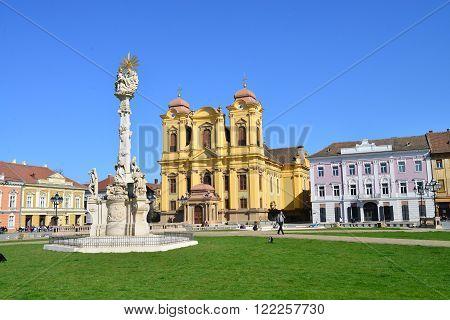 TIMISOARA ROMANIA - 03.14.2016: dome statue and union square panorama