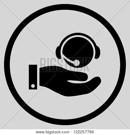 Call Center Service vector icon. Picture style is flat call center service rounded icon drawn with black color on a light gray background.