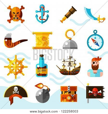 Pirates flat color icons set with wooden chest of gold anchor binoculars compass helm and black flag with red skull isolated vector illustration