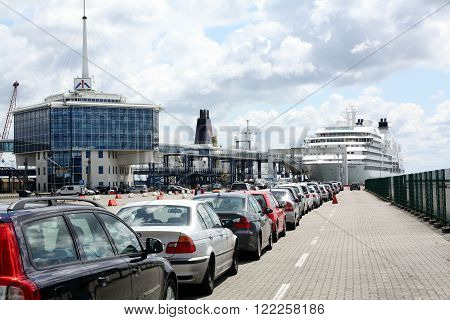 Harbour of Sassnitz. 02_06-2012. Cars are parked in a row to ride on the ferry on the harbour of  Sassnits. Germany