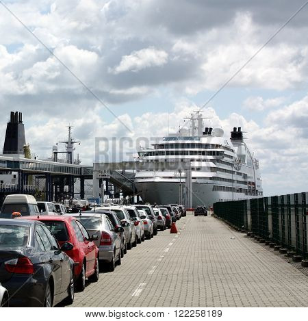Harbour of Sassnitz. Cars are parked in a row to ride on the ferry. Harbour of Sassnitz. Germany