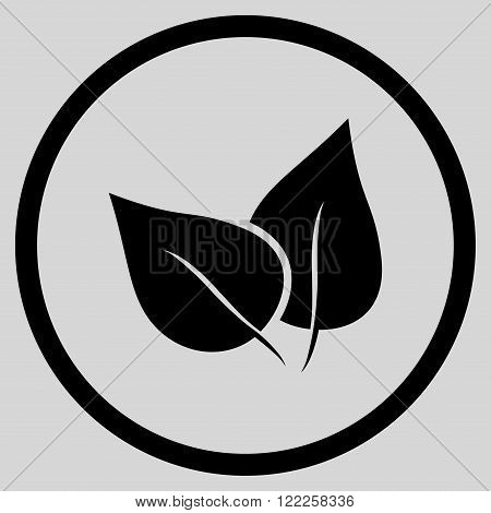 Flora Plant vector icon. Picture style is flat flora plant rounded icon drawn with black color on a light gray background.