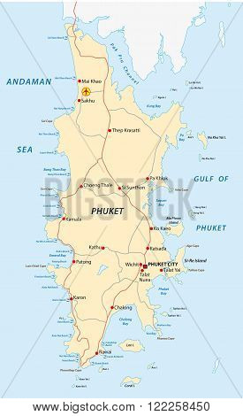 phuket road and beach map 