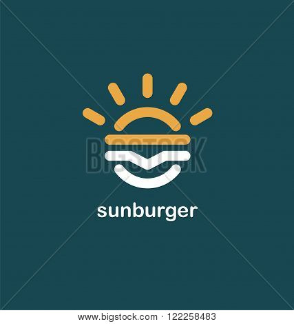 Fast food creative symbol concept. Burger icon. Hamburger logo design idea. Restaurant logo concept with burger and sun shape. Junk food logo. Flat modern line design. Take away food idea.