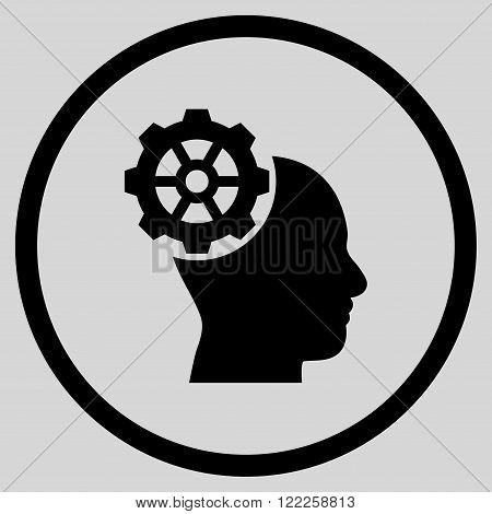 Head Gear vector icon. Picture style is flat head gear rounded icon drawn with black color on a light gray background.