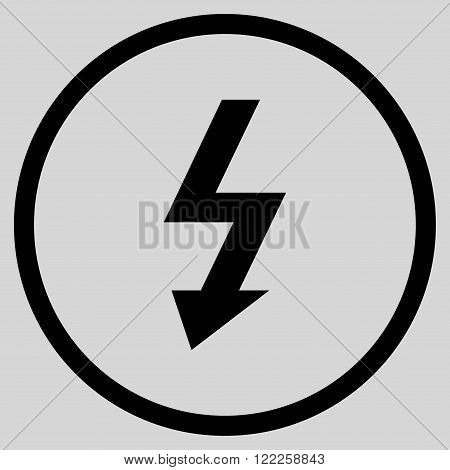 High Voltage vector icon. Picture style is flat high voltage rounded icon drawn with black color on a light gray background.