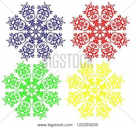 Four multi-colored snowflakes, red, blue, yellow, green, png