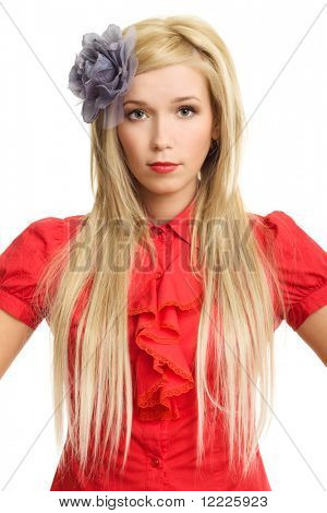 beautiful blonde woman in red portrait on white background