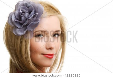 blonde woman with flower close up portrait on white background