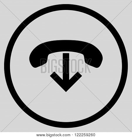 Phone Hang Up vector icon. Picture style is flat phone hang up rounded icon drawn with black color on a light gray background.