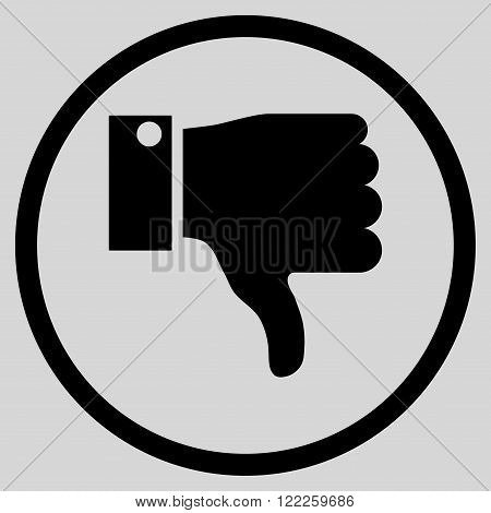 Thumb Down vector icon. Picture style is flat thumb down rounded icon drawn with black color on a light gray background.