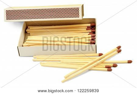 matches for kindling of the hearth in a paper box isolated on white background