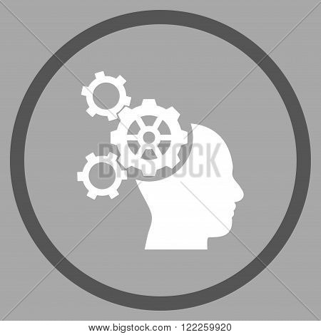 Brain Mechanics vector bicolor icon. Picture style is flat brain mechanics rounded icon drawn with dark gray and white colors on a silver background.