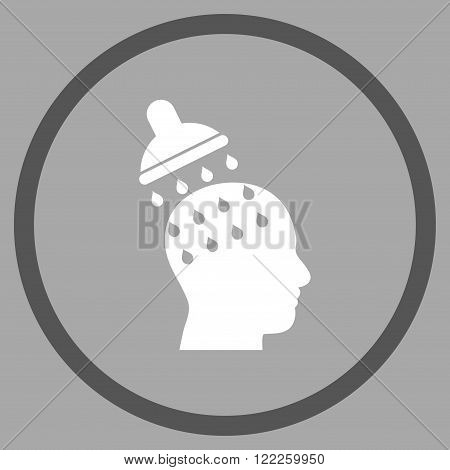 Brain Washing vector bicolor icon. Picture style is flat brain washing rounded icon drawn with dark gray and white colors on a silver background.