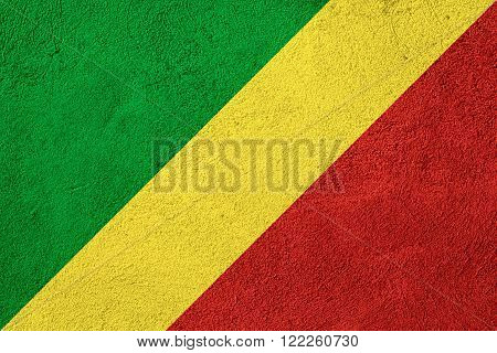 flag of Congo or Congolese banner on rough pattern background