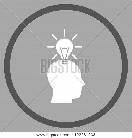 Genius Bulb vector bicolor icon. Picture style is flat genius bulb rounded icon drawn with dark gray and white colors on a silver background.