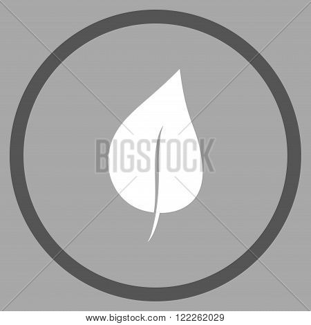 Plant Leaf vector bicolor icon. Picture style is flat plant leaf rounded icon drawn with dark gray and white colors on a silver background.