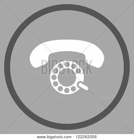 Pulse Dialing vector bicolor icon. Picture style is flat pulse dialing rounded icon drawn with dark gray and white colors on a silver background.
