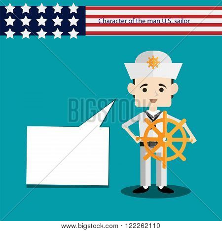 set men European character is a USA sailor with wheel flat vector portrait of a man with emotion on an isolated background