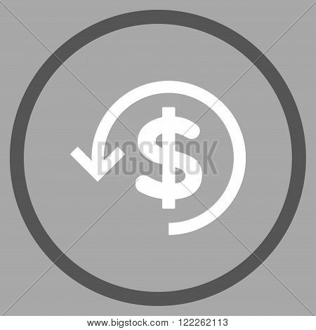Rebate vector bicolor icon. Picture style is flat refund rounded icon drawn with dark gray and white colors on a silver background.