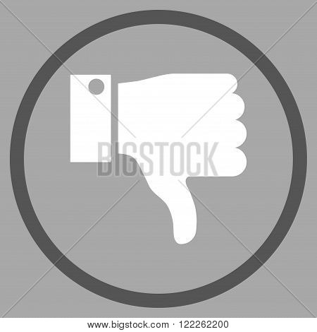 Thumb Down vector bicolor icon. Picture style is flat thumb down rounded icon drawn with dark gray and white colors on a silver background.