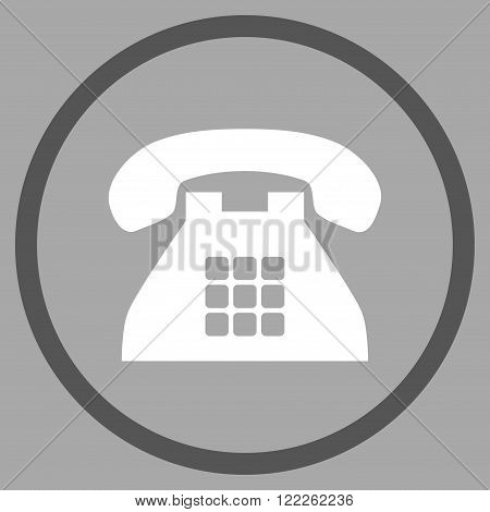 Tone Telephone vector bicolor icon. Picture style is flat tone phone rounded icon drawn with dark gray and white colors on a silver background.