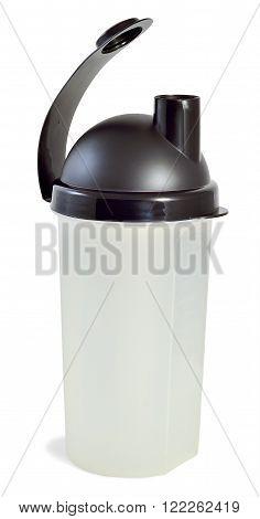 white plastic with black cap shaker for athletes isolated on white background
