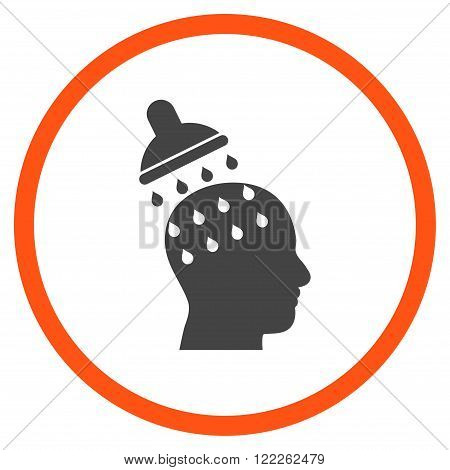 Brain Washing vector bicolor icon. Picture style is flat brain washing rounded icon drawn with orange and gray colors on a white background.