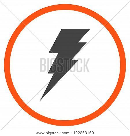 Execute vector bicolor icon. Picture style is flat execute rounded icon drawn with orange and gray colors on a white background.