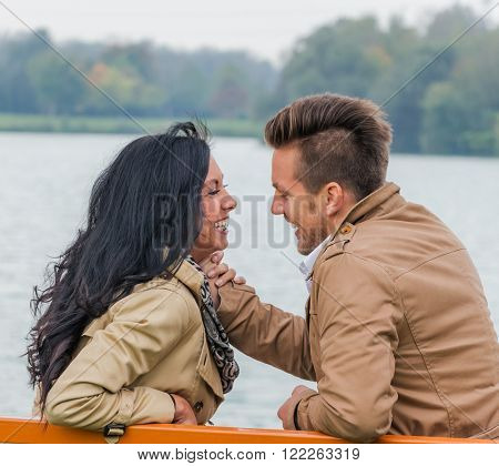 amorous couple on a park bench