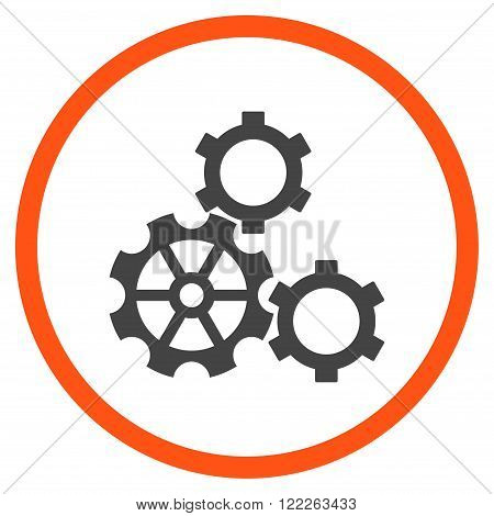 Configuration vector bicolor icon. Picture style is flat gears rounded icon drawn with orange and gray colors on a white background.