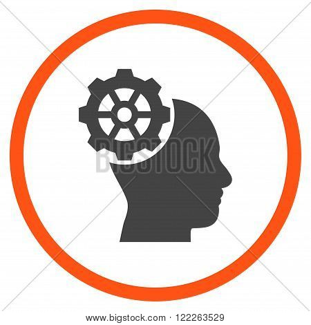 Head Gear vector bicolor icon. Picture style is flat head gear rounded icon drawn with orange and gray colors on a white background.