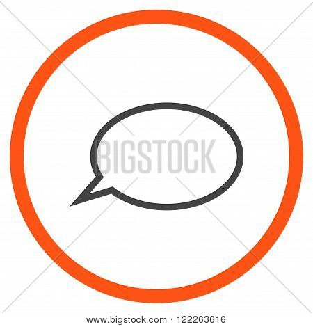 Hint Cloud vector bicolor icon. Picture style is flat hint cloud rounded icon drawn with orange and gray colors on a white background.