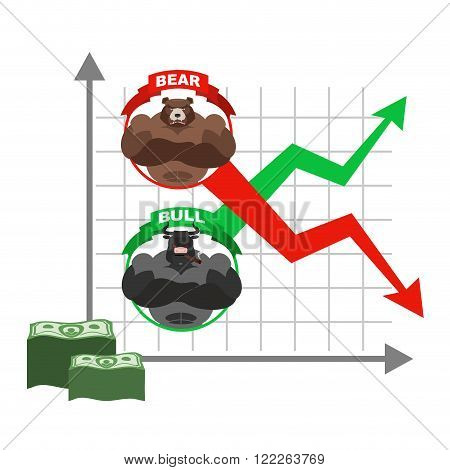 Rise And Fall Of  Quotations Of Dollar. Bets On  Exchange. Bears And Bulls. Red And Green Arrow. Bus