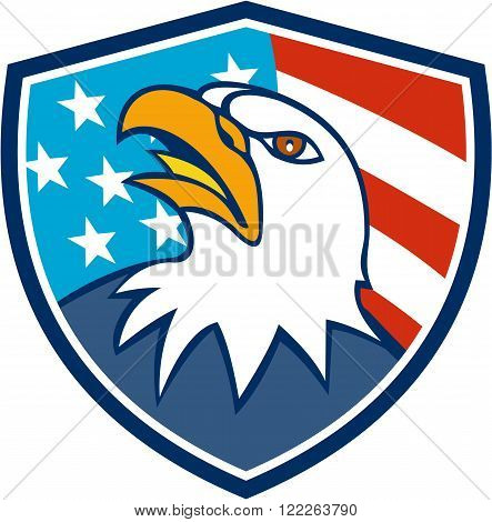 Illustration of an american bald eagle head looking up viewed from side set inside shield crest with usa flag stars and stripes in the background done in cartoon style.