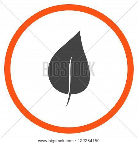 Plant Leaf vector bicolor icon. Picture style is flat plant leaf rounded icon drawn with orange and gray colors on a white background.