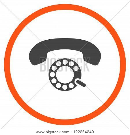 Pulse Dialing vector bicolor icon. Picture style is flat pulse dialing rounded icon drawn with orange and gray colors on a white background.