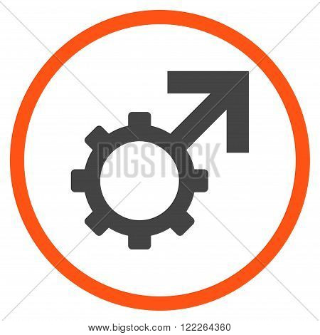 Technological Potence vector bicolor icon. Picture style is flat technological potence rounded icon drawn with orange and gray colors on a white background.