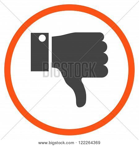 Thumb Down vector bicolor icon. Picture style is flat thumb down rounded icon drawn with orange and gray colors on a white background.