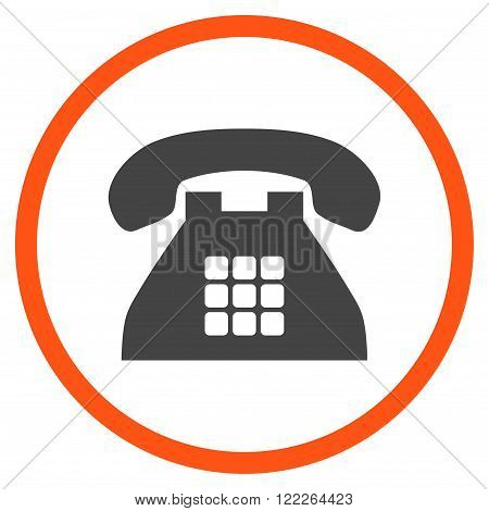 Tone Phone vector bicolor icon. Picture style is flat tone phone rounded icon drawn with orange and gray colors on a white background.