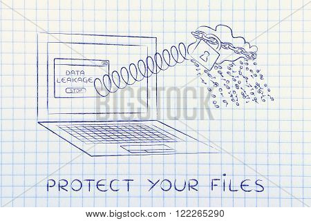 Cloud Raining Binary Code Out Of Laptop, Protect Your Files