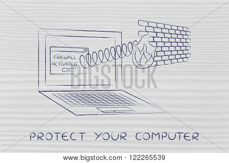 firewall coming out of laptop screen with a spring protect your computer
