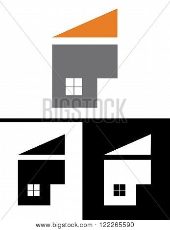 Vector home icon set in colour, black and reverse