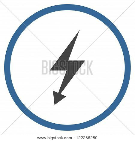 Electric Strike vector bicolor icon. Picture style is flat electric strike rounded icon drawn with cobalt and gray colors on a white background.