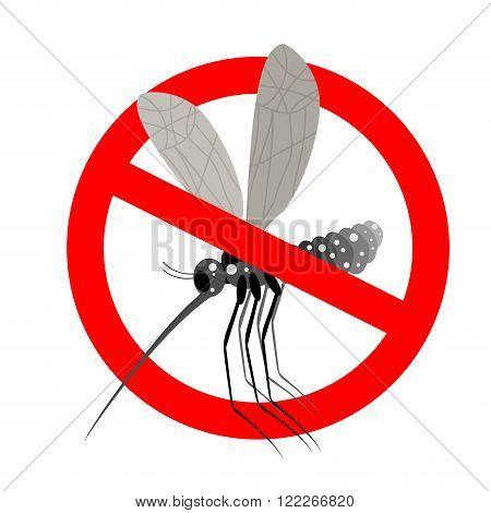 Stop Mosquito. Forbidden Zika Virus. Frozen Mosquito Insect. Emblem Against Virus Zika. Emblem Again
