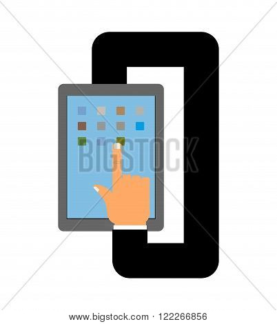 Tablet and hand. Autopilot for your tablet. Business hand in jacket makes calculations on Tablet
